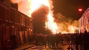 Bonfire falls closely to residential homes, Belfast