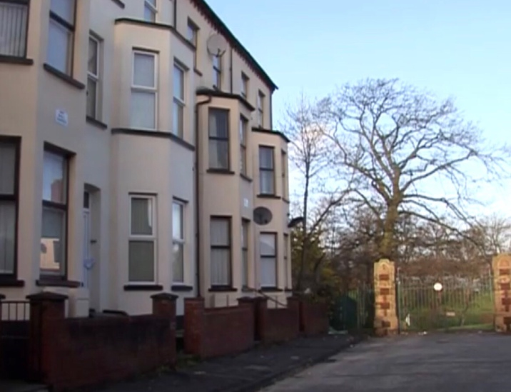 The end building situated next to the gates of Alexander Park was the flat that was attacked with petrol bombs.