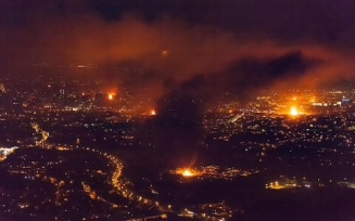 Bonfire view across Belfast from the Cavehill Mountains